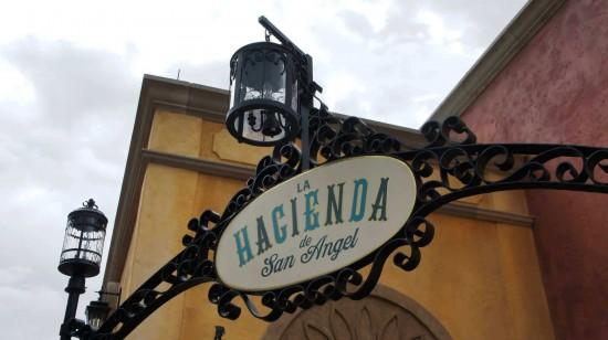 La Hacienda de San Angel at Epcot's Mexico Pavilion: Sign on the front of the restaurant.