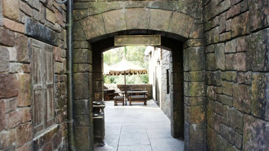 Wizarding World of Harry Potter: Shortcut to the Three Broomsticks outdoor seating area.