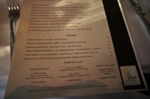 La Luce by Donna Scala: Bottom of the menu.