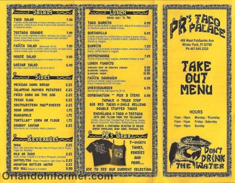 PR's Taco Palace: Take out menu.