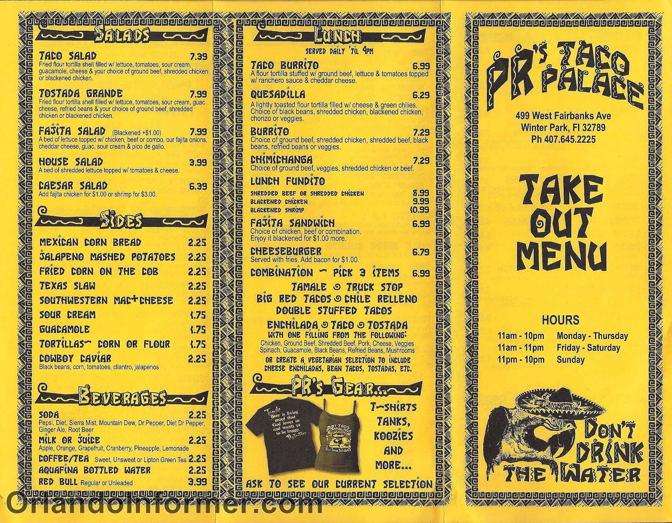 Pr 39 s taco palace winter park 39 s mexican restaurant for Take out menu