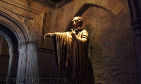 Harry Potter and the Forbidden Journey: Just inside the castle's backdoor.