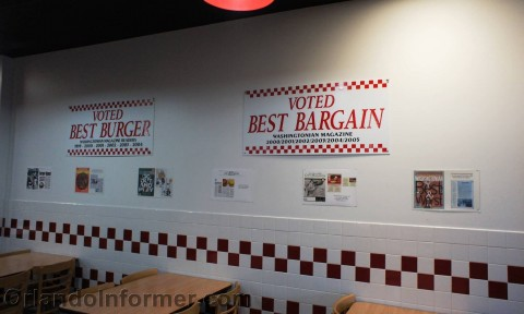 Five Guys: Accolades on the wall.