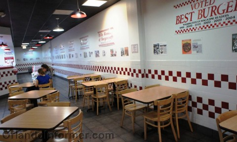 Five Guys: Inside seating.