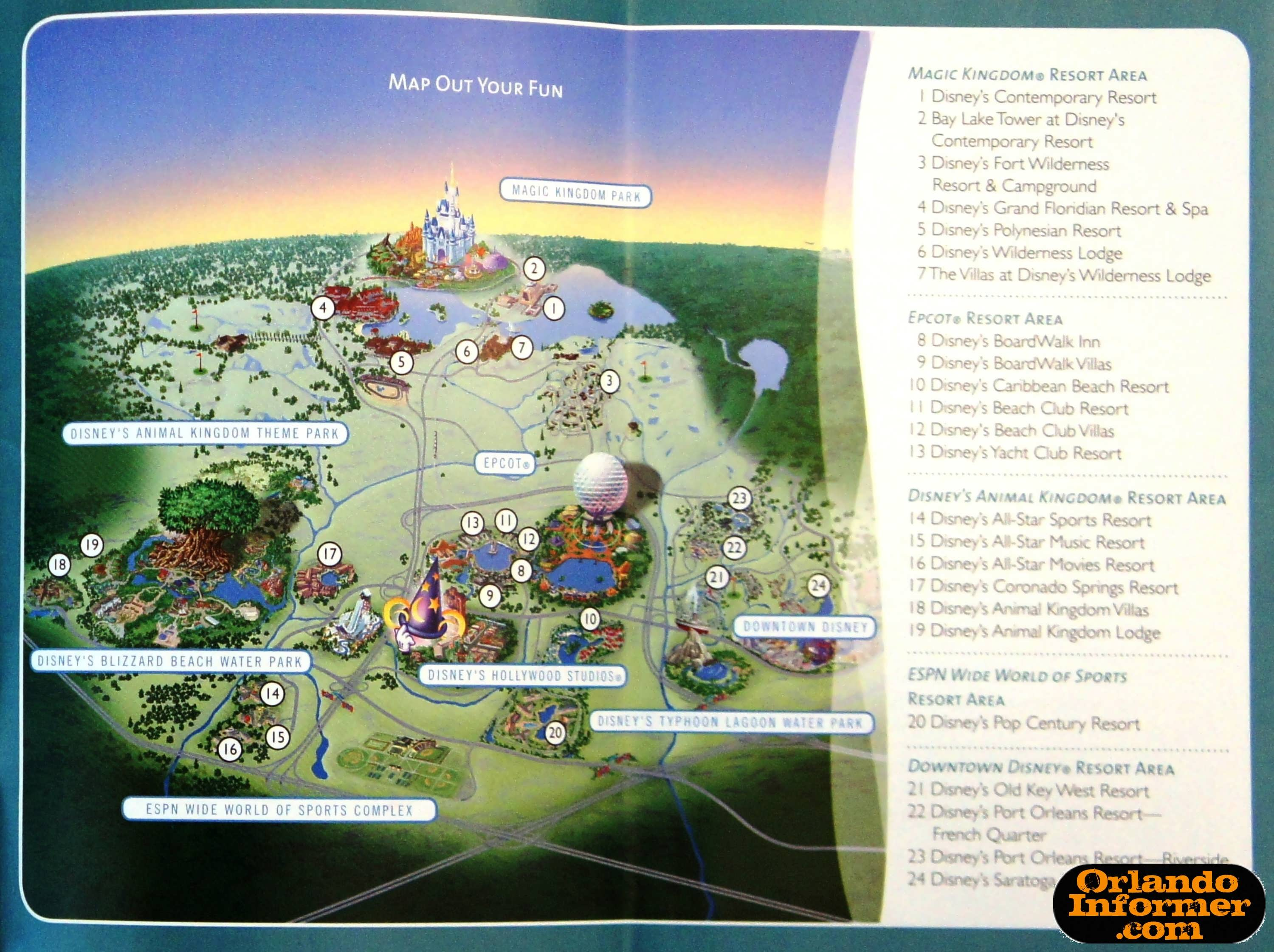 2011 Walt Disney World vacation brochure: Let the memories begin! Disney World Hollywood Studios Map on