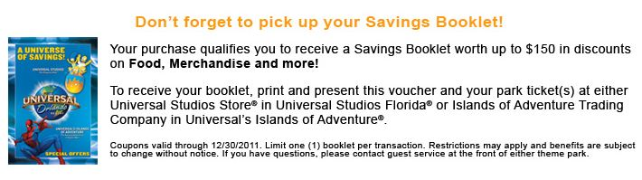 $150 savings voucher for Universal Orlando.