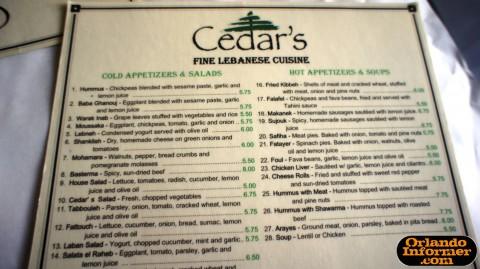 Cedar's Restaurant of Orlando: Top half of the menu.