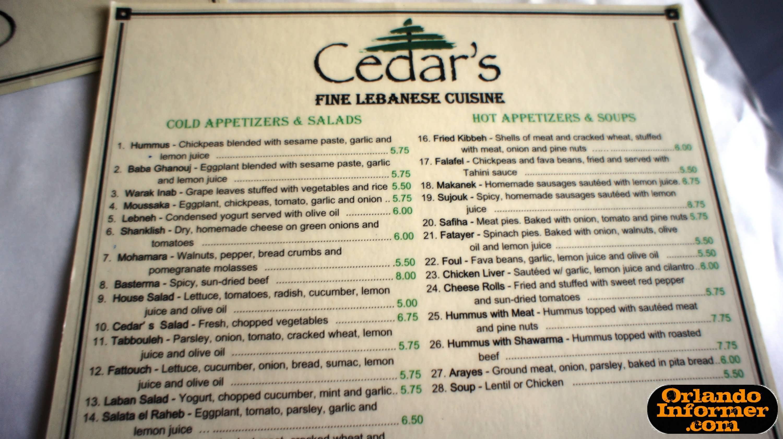 Cedars South Restaurant Menu