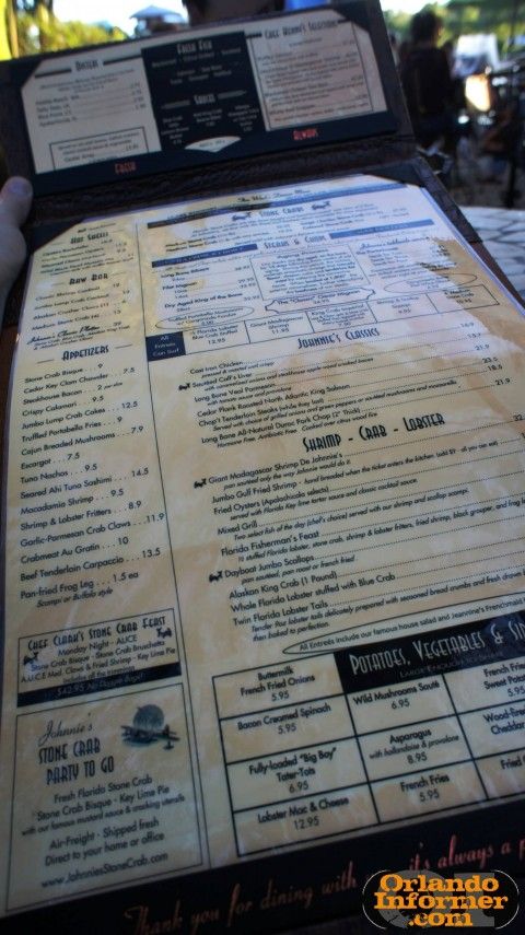 Johnnie's Hideaway Restaurant: The menu.