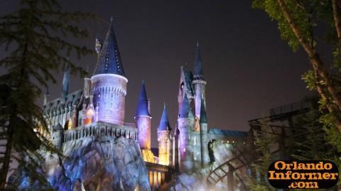 Wizarding World of Harry Potter at night: Hogwarts Castle.