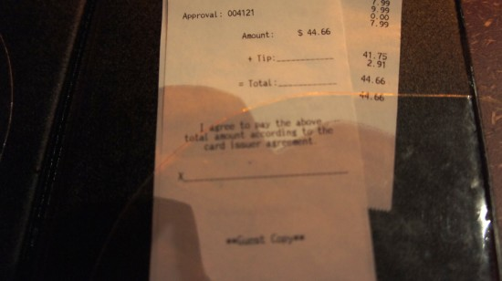 AMC Fork & Screen at Downtown Disney: Our receipt.