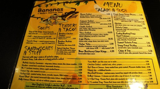 Bananas - A Modern American Diner: The menu.