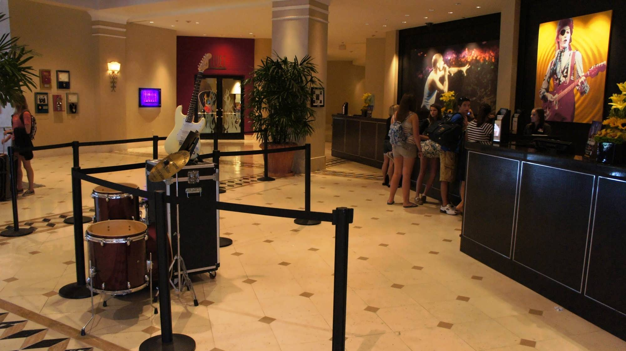 The check-in desk at the Hard Rock Hotel