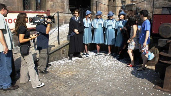 Wizarding World of Harry Potter one-year anniversary: Taking video.
