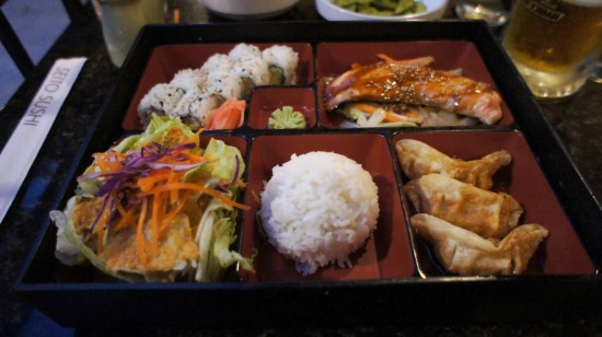 Seito Sushi in the Town of Celebration: Bento Box with a California Roll and Terkiyaki Salmon.