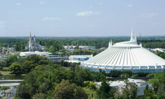 View of Magic Kingdom's Space Mountain from the top floor of Bay Lake Tower.