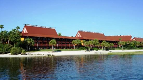 Disney's Polynesian Resort beachfront sits on the Seven Seas Lagoon across from Magic Kingdom.