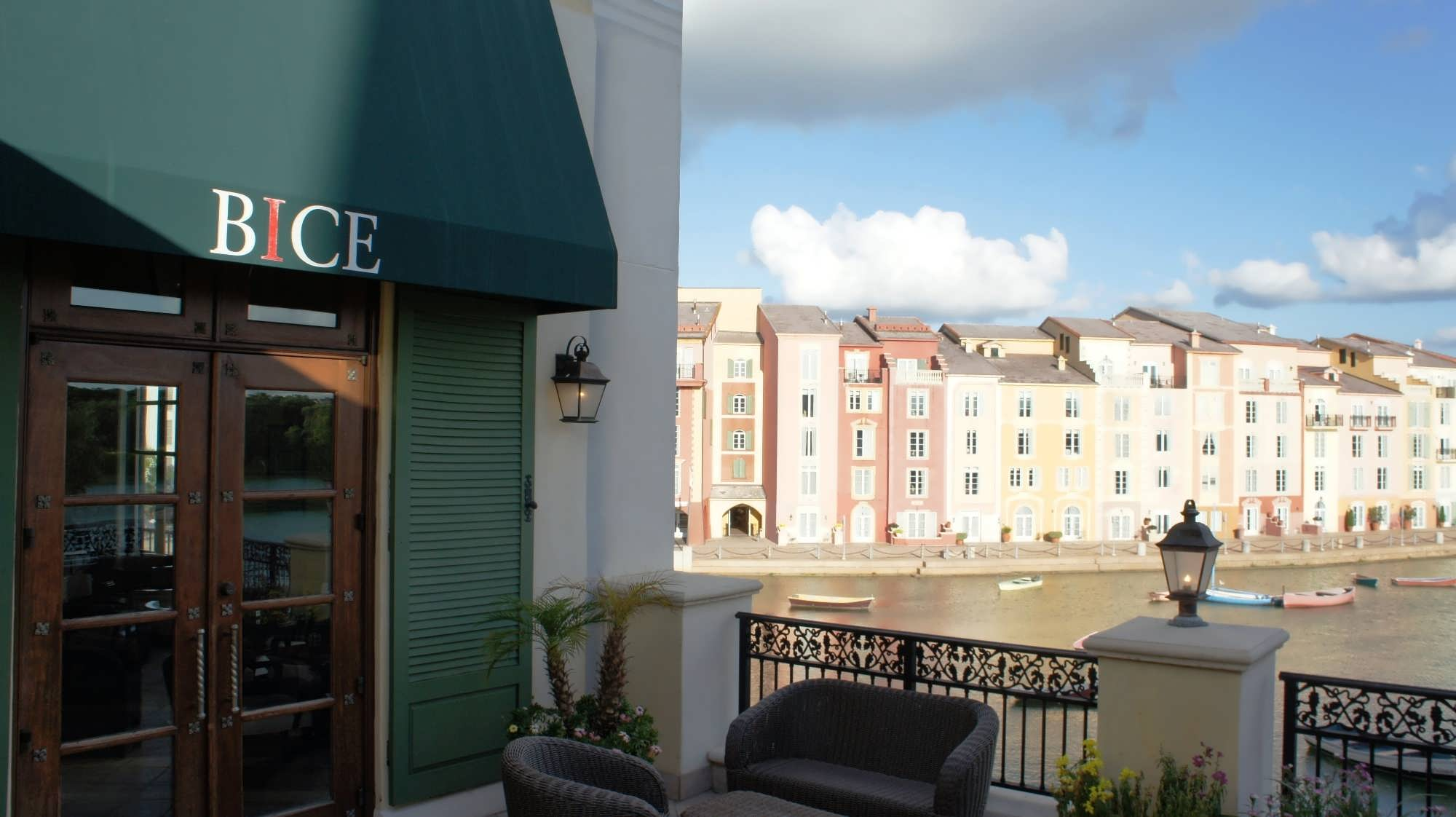 The beautiful view of the harbor from the Bice patio at Portofino Bay Hotel