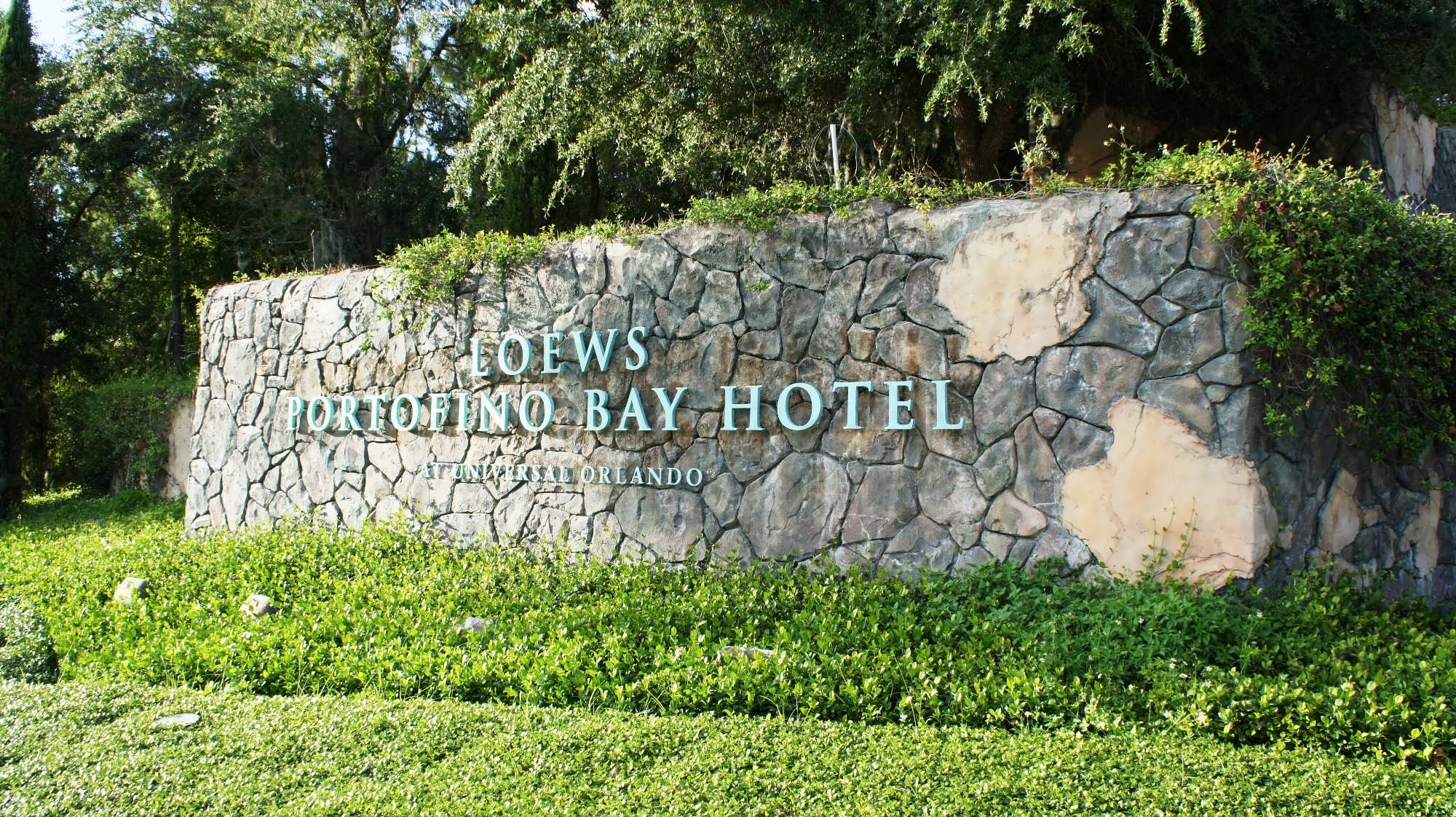 Loews Portofino Bay Hotel entrance sign