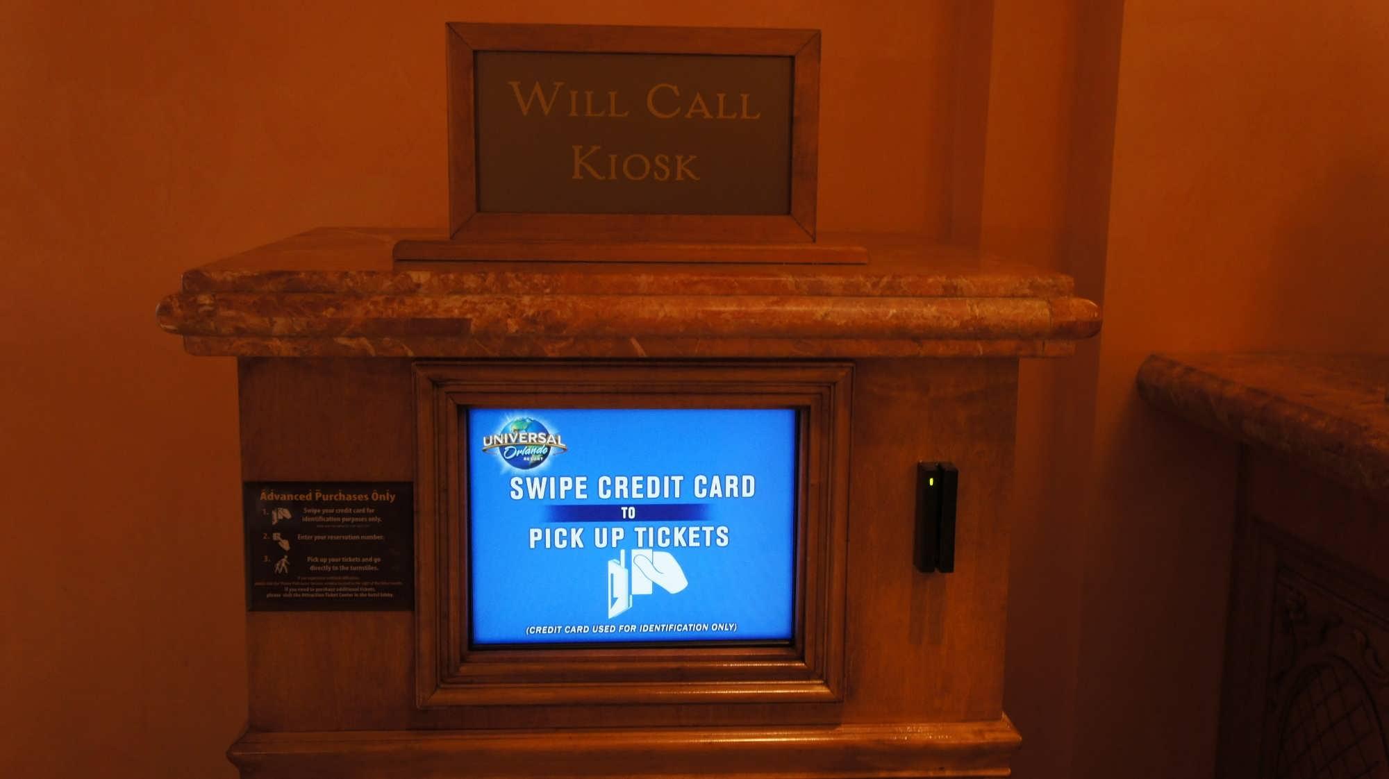 Electronic will call kiosk at Portofino Bay