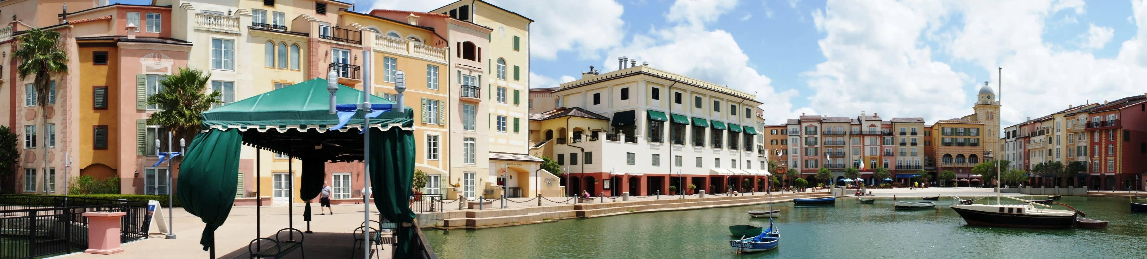 Portofino Bay Hotel Harbor Piazza panorama