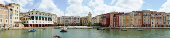 Portofino Bay Hotel Harbor Piazza panorama.