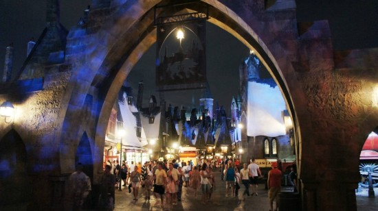 Entering the Wizarding World of Harry Potter at night.