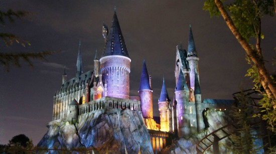 Wizarding World of Harry Potter at night: Hogwarts Castle in the moonlight.