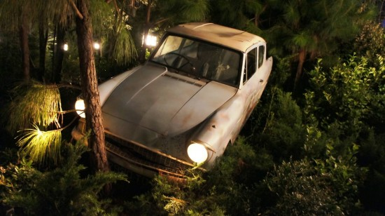 Wizarding World of Harry Potter at night: Ron crashed his car again!