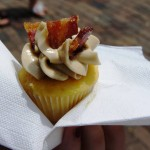 Winter Park Farmers Market: Cupcake with candied bacon on top.