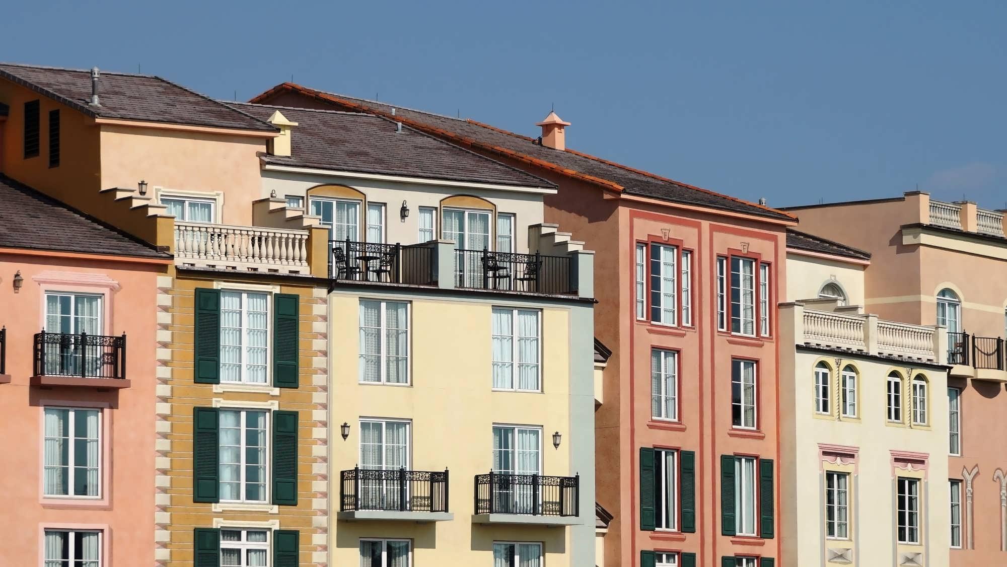 Juliette and full balconies at Portofino Bay Hotel