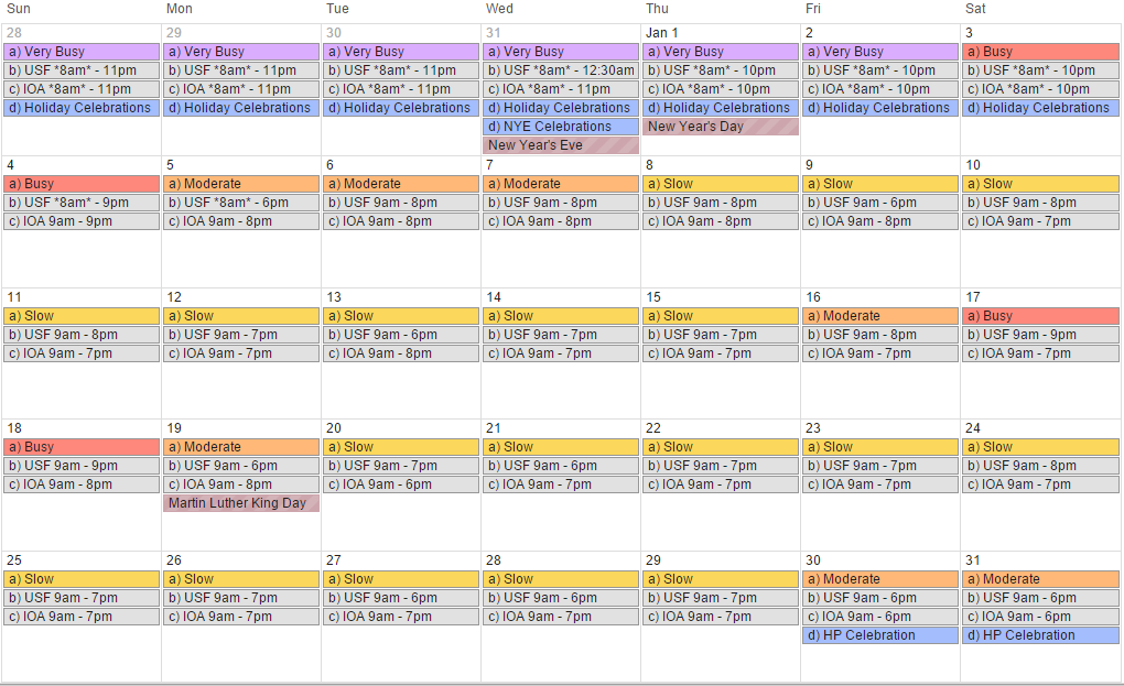 January 2015 - Universal Orlando crowd calendar, park hours and special events (revision 6).