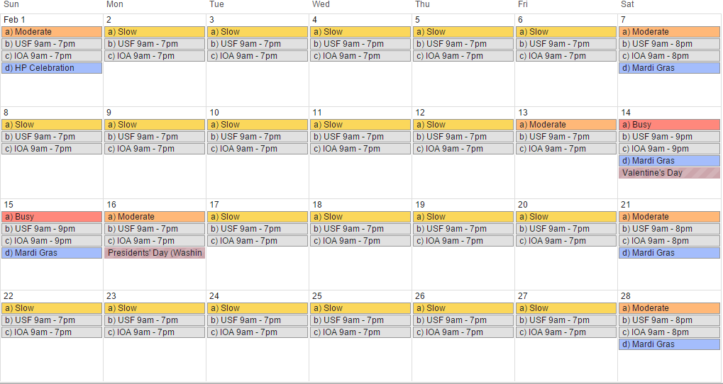 February 2015 - Universal Orlando crowd calendar, park hours and special events (revision 2).