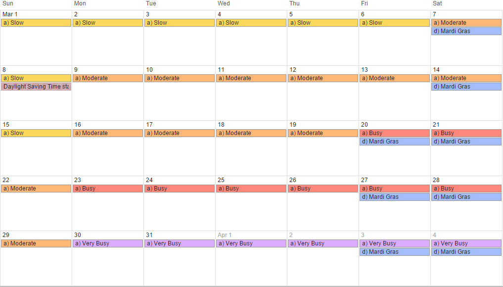 March 2015 - Universal Orlando crowd calendar, park hours and special events (revision 4).