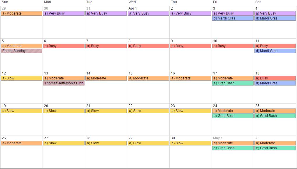 April 2015 - Universal Orlando crowd calendar, park hours and special event (revision 3).