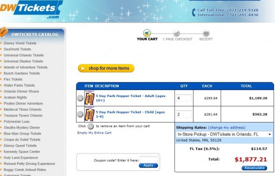 DWTickets.com Disney ticket pricing for August 2, 2011.