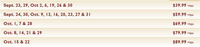 HHN 21 Express Pass pricing schedule.