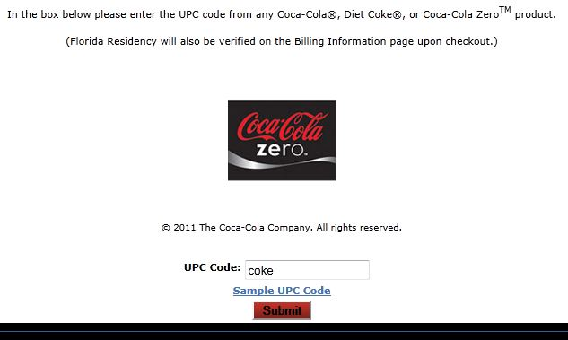 """Use """"coke"""" as the UPC code to get the Florida resident discount."""