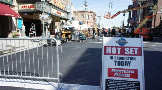 A shot of a rare live production on the streets of Universal Studios Florida.