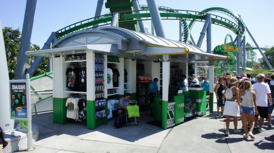New concession & merchandise stand in front of Hulk (April 2, 2012).