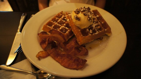 Kouzzina by Cat Cora at Disney's BoardWalk: Classic Golden Waffle with bacon.