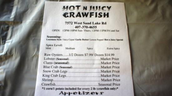 Hot 'n Juicy Crawfish Restaurant in Orlando: The important part of the menu.
