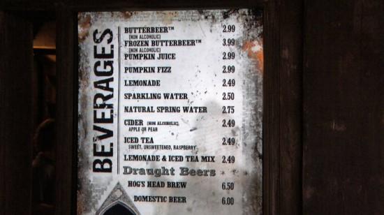 Three Broomsticks at Universal's Wizarding World of Harry Potter: Beverage menu.