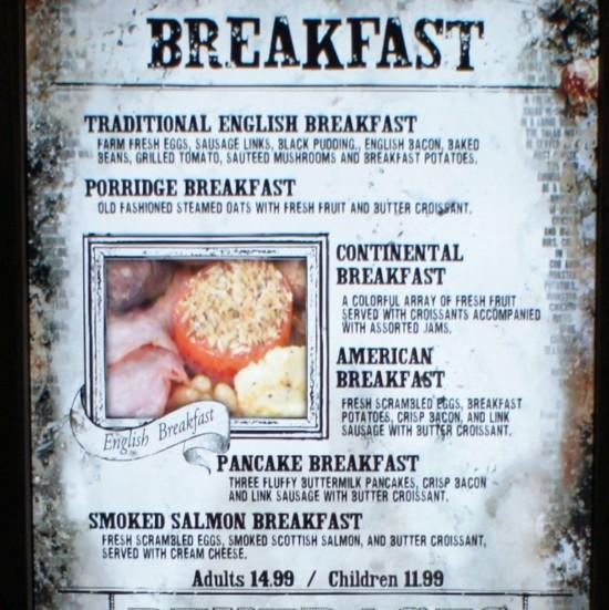 Three Broomsticks breakfast menu.
