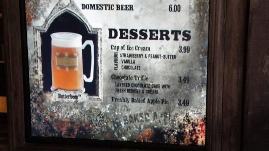 Three Broomsticks at Universal's Wizarding World of Harry Potter: Desserts menu.