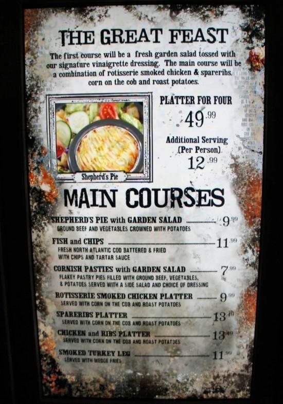 Three Broomsticks at Universal's Wizarding World of Harry Potter: Adult menu.