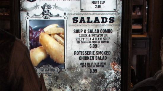 Three Broomsticks at Universal's Wizarding World of Harry Potter: Salads menu.