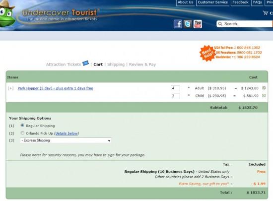UndercoverTourist.com Disney ticket pricing on August 2, 2011.