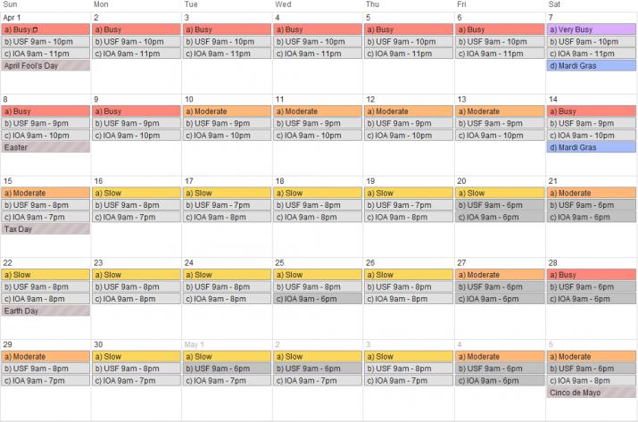 April 2012 - Universal Orlando crowd calendar, park hours & special events.