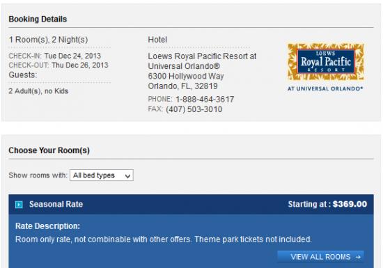 Royal Pacific Resort room rate.